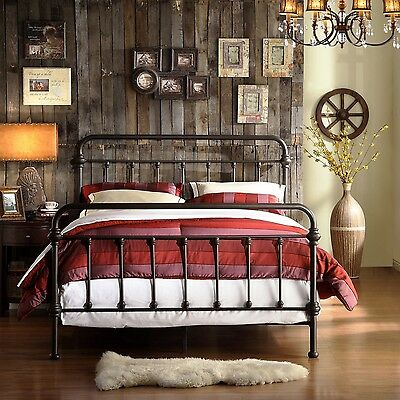 Full Antique Dark Bronze Iron Metal Bed Frame Victorian Headboard Bedroom Set