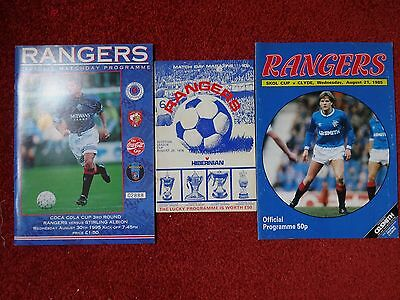 3 X Rangers Home Cup programmes.