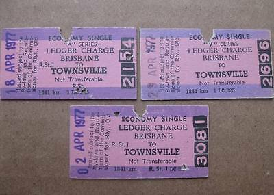QUEENSLAND RAILWAYS LEDGER CHARGE  BRISBANE to TOWNSVILLE - 3 VARIATIONS. ISSUED