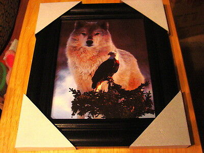 Wolf And Eagle 11X13 Mdf Framed Picture Poster ( Black Color Frame )