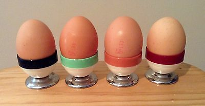 Retro Vintage Plastic and Metal Set of 4 Egg Cups