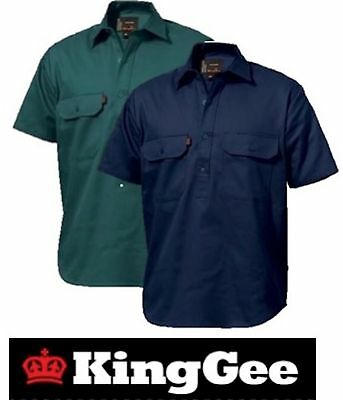King Gee  - Pack Of 4 - Mens Closed Front Short Sleeve Drill Work Shirt K04060