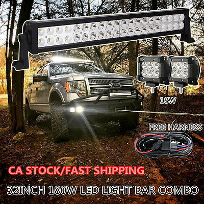 "32Inch 180W Led Work Light Bar +2 X 4"" Cree Pods Offroad Truck Ford Jeep SUV 30"