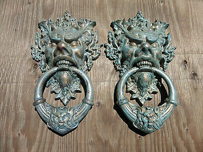Large Cast Iron Vecchio Toscano Greenman Gargoyle Devil Demon Door Knocker