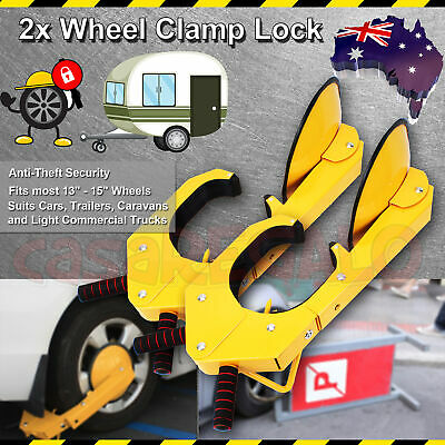 2x Wheel Clamp Disc Lock Anti-Theft Security Safety Auto Car Vehicle Heavy Duty