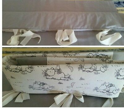 Baby Crib Teething Cot Rail Cover 100% Cotton Winnie The Pooh /Grey .Reversable