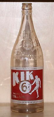 "VERY RARE - KIK COLA - 28 oz - ""6 CENTS"" POP / SODA BOTTLE - CANADA"