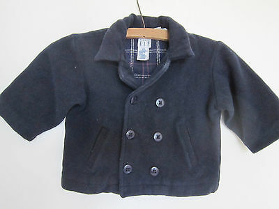 Lovely Vintage Navy Blue Pure Wool Baby Gap Pea Coat 12-24 months Tartan Lined