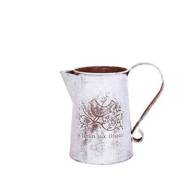 Shabby Chic Country Vintage Metal Jug Vase Flower Pitcher Wedding Decor