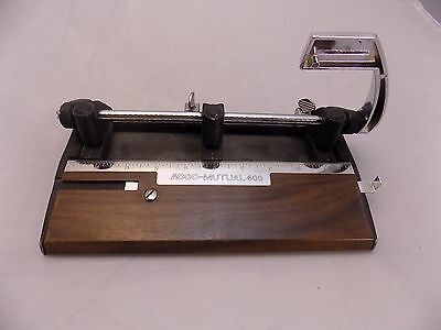 Acco-Mutual 400 3 Hole Paper Punch Wood Grain w/Paper Stop