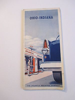Vintage ATLANTIC OHIO INDIANA Gas Service Station Road Map~1950 Census