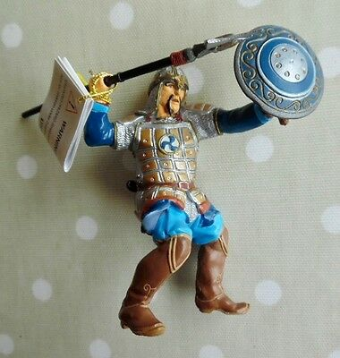New, Papo Blue Foot Soldier With Spear & Shield