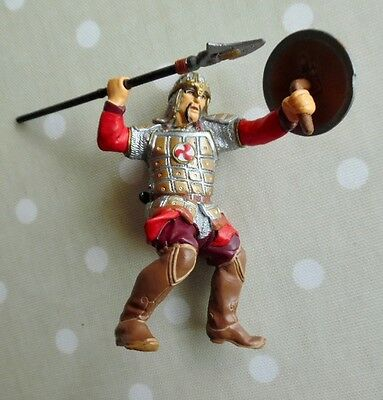 New, Papo Red Foot Soldier With Spear & Shield