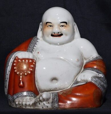 Exquisite Old Chinese Antique Porcelain Laughing Buddha Statue MinGuo