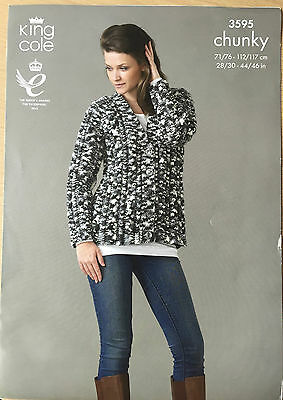 ORIGINAL KNITTING PATTERN Ladies Cable Jumper & Cardigan Sweater King Cole 3595