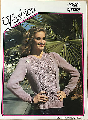 VINTAGE KNITTING PATTERN Ladies Lace Patterned Jumper Sweater Wendy No 1890