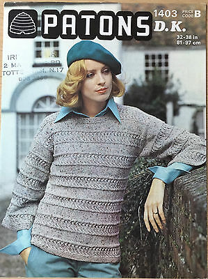 Vintage KNITTING PATTERN Ladies Lace Striped Sweater Jumper Patons No 1403