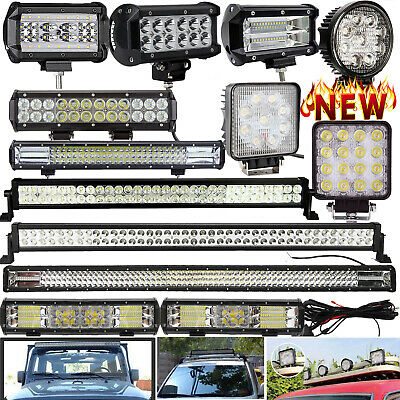 12V 24V LED Work Roof Lights Bar Flood Spot Beam Driving Lamps Offroad SUV Truck