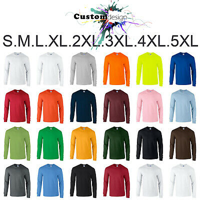 Gildan Long Sleeve T-SHIRT blank plain tee S - 5XL Small Big Men's Cotton jumper
