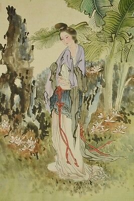 Chinese Hanging Scroll Painting Beauty leaf Antique Picture China Asian Art b203