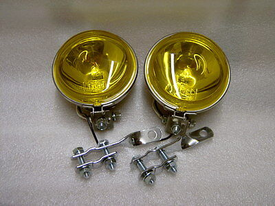 "4.5"" Stainless Steel Halogen Amber Lens Spotlights Pair & Twisted C/bar Brackets"