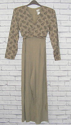 Size 10 vintage 80s wide leg long sleeve floral wrap front jumpsuit taupe (HY62)