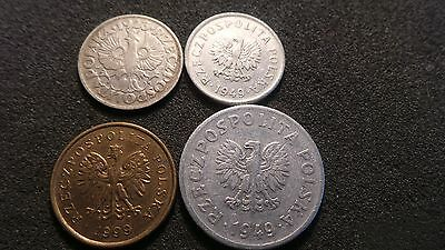 Poland, 4 x Vintage Coins. (various, random years and denominations).