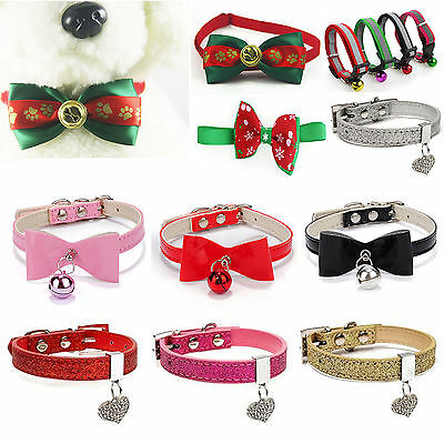 Best Small Pet Cat kitten Collar velvet bow tie safety Bowtie Bell Adjustable