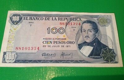 Colombia Banknote 100 Pesos (1971) Circulated World Paper Money