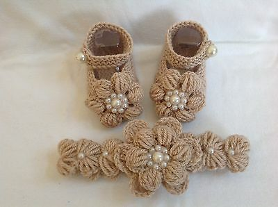 Hand knitted baby girl booties/shoes and crochet headband  0-3 months