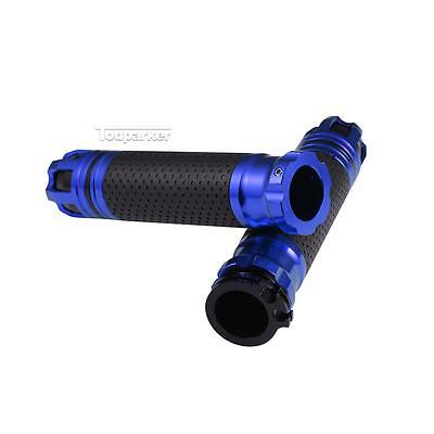 """Blue Motorcycle CNC Aluminum Rubber Hand Grips for 7/8"""" Handle Bar Bike Bicycle"""