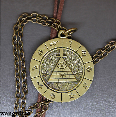 Disney Gravity Falls Bill Cipher Necklace Metal Brozen Pendant Cosplay Gift
