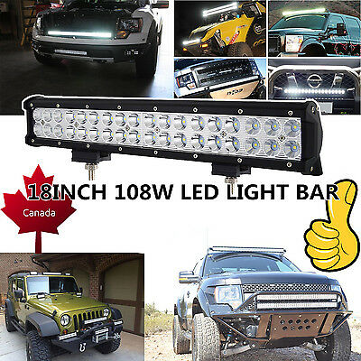 18Inch CREE LED Work Light Bar 108W Driving Fog Offroad SUV ATV Truck Jeep 17/20