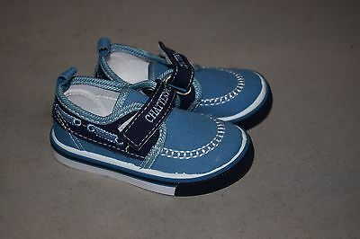 Boys Toddlers Blue Canvas Casual Pumps Velcro Fasten Shoes New Size 4 Sale!