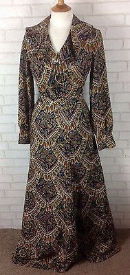 Vintage 1970 Jaeger Multi Coloured Maxi Skirt Blouse Shirt Suit Size 8