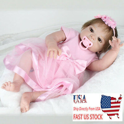 22inch Pink Realistic Girl Baby Vinyl Reborn Doll Soft Silicone Girl Toy Gift
