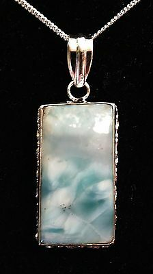 Gorgeous Blue Handcrafted Larimar .925 Solid Sterling Silver Pendant (2082)
