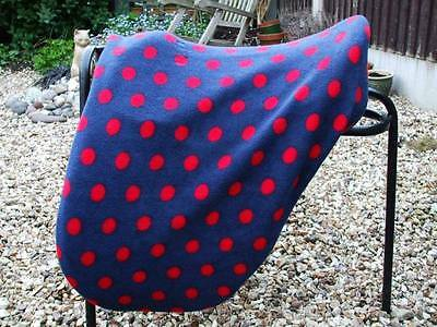 Fleece Storage Saddle Cover - Navy & Red Spots