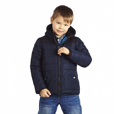 Regatta Ziggy Boys Quilted Hooded Water Repellent Fleece Lined Jacket Navy 15-16