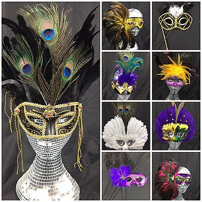 Venetian Masquerade Mask - Fancy Dress Party High Quality UK Seller Real Feather