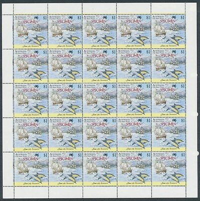 Australia: 1987 $1 First Fleet Bicentennial Teneriffe SPECIMEN opt sheet of 25