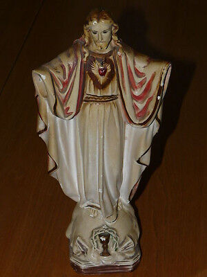 Vintage Sacred Heart Jesus Plaster Statue - 12'' inches tall Statue