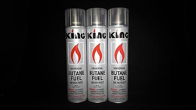 3 New LARGE Cans Of KING BUTANE Gas 6oz. Bottles (300ml)  5x REFINED *Free Ship* • $14.95