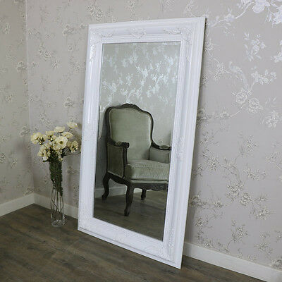 Extra large ornate gloss white wall mounted bevelled mirror shabby vintage chic