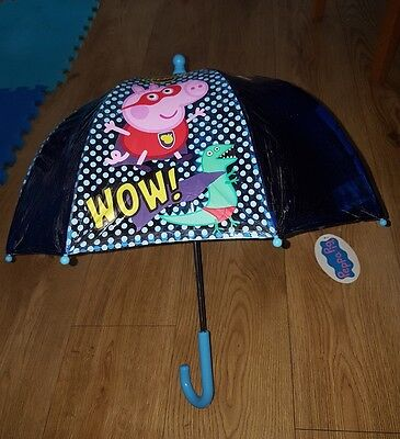 Mothercare Children's Umbrella - Peppa Pig George Super Man High Quality NEW