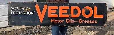 Porcelain Veedol Sign Large Dealer Oil Vintage Advertisement Gas Garage Pump