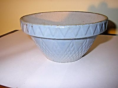 Antique Blue & White Stoneware Mixing Bowl w Crown Mark Small #6 Very Good