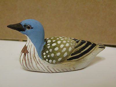 Brand New Hand Carved & Painted Wood Blue Headed Duck Figurine Multi-color