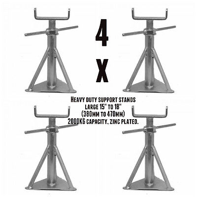 """Static Caravan Axle Stand x 4 Large 15"""" to 18"""" (380mm to 470mm) NCC Approved"""