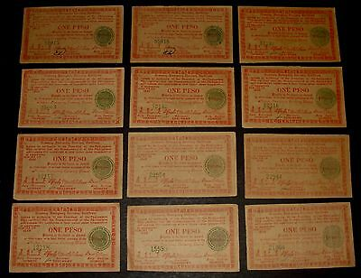 12 - Philippines 1945 Commonwealth Seal WW2 Negros One Peso Emergency Notes